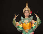 Portrait of Thai young lady in an ancient Thailand dance — Stock Photo