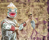 Ancient Ramayana picture on the wall in Thai temple. — Stock Photo