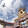 Big Buddha in Wat Phra Yai Temple, Koh Samui island, black and w — Stock Photo