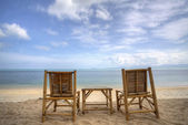 Two bamboo beach chair — Stock Photo