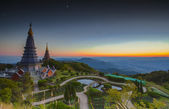 Landscape of Two pagoda at Doi Inthanon — Stock Photo