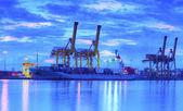 Container cargo fracht im lieferumfang der kranbrücke in shipya arbeiten — Stockfoto