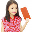 Asian girl holding red packet,chinese new year theme - Stock Photo
