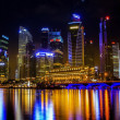 Landscape of the Mer-lion and Singapore - Stock Photo