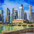Landscape of the Merlion and Singapore - Stock Photo