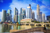 Landscape of the Merlion and Singapore — Foto de Stock