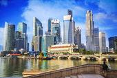 Landschap van de merlion en singapore — Stockfoto