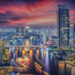 River in Bangkok city in night time  — Stock Photo