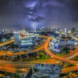 Bangkok city night view with main traffic — Photo