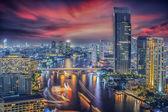 River in Bangkok city in night time — Stock Photo