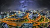 Bangkok city night view with main traffic — Stock Photo