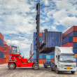Crane lifter handling container box loading — Stock Photo