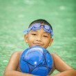Little boy playing in swimming pool  — Stock Photo