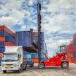 Crane lifter handling container box loading — Stock Photo #30288313