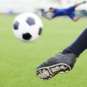 Kick soccer ball — Stock Photo