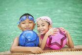 Swimming kid — Stock Photo