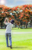 Male golf player teeing off golf ball — Stock Photo