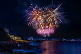 Fireworks at Pattaya beach, Thailand — Foto de Stock