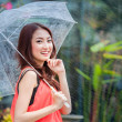 Young Thai lady standing with under umbrella  — Stock Photo