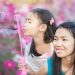 Asian little girl is blowing a soap bubbles — Stock Photo #38814601