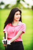 Asia girl golf player — Stock Photo