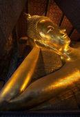 Rozkładane twarz złoty posąg buddy — Zdjęcie stockowe
