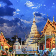 Phra Singh temple twilight time Viharn Lai Kam Wat Phra Singh — Stock Photo #41768457
