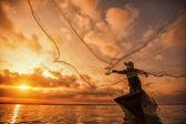 Fisherman of Bangpra Lake  — Stock Photo