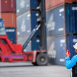Foreman control forklift handling the container box  — Stock Photo #50354367
