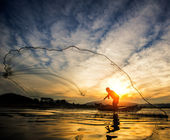 Fisherman of Bangpra Lake  — Stock Photo