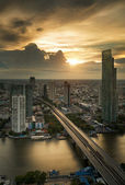 Vertival view of River in Bangkok city — Stock Photo