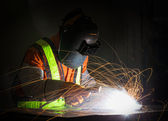 Worker work hard with welding — Stock Photo