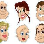 lachende gezichten koelkast magneet, stickers — Stockfoto