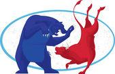 значок медведя и быка фондового рынка — Стоковое фото