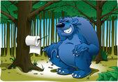 Grande urso fazendo cocô — Foto Stock