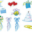 Simple Wedding Icons — Stock Photo
