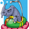 Rhino in bumper car — Stock Photo