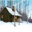 Snow scene with mountain hut retreat — Stock Photo