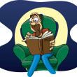 Постер, плакат: Cartoon man reading a thriller