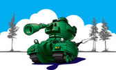 Cartoon tank in wargames — Stock Photo