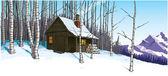 Snow scene with mountain hut retreat — Stock Photo
