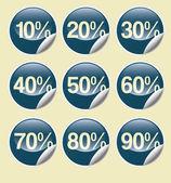 Försäljning knappar med rabatt — Stockfoto