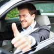 Portrait of an happy man on his car — Stock Photo #22618287