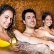 Happy relaxing in a spa — Stock Photo