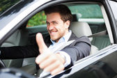Portrait of an happy man on his car — Stock Photo