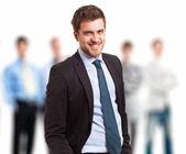 Líder na frente de sua equipe — Foto Stock