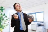 Stressed businessman strangling himself — Stock Photo
