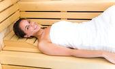 Woman having a sauna bath — Stock Photo