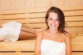 Sauna bath in a steam room — Stock Photo