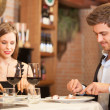 Dinner at the restaurant — Stock Photo